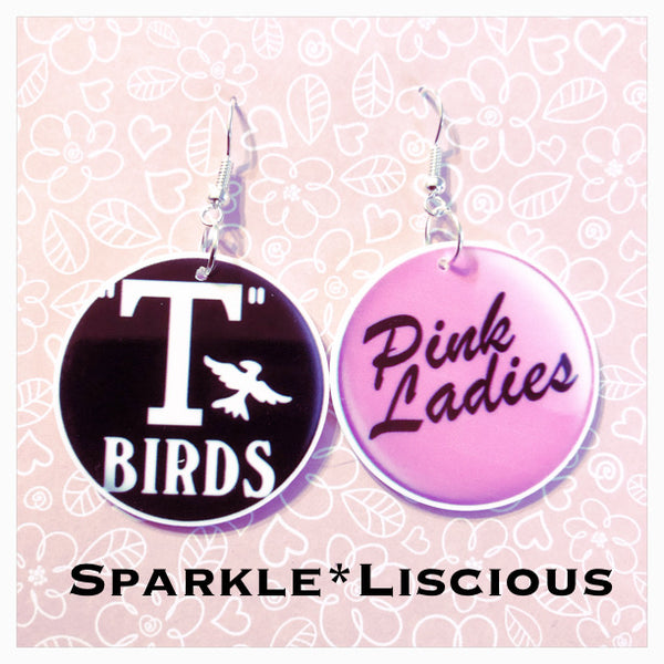 Grease t birds and pink ladies earrings