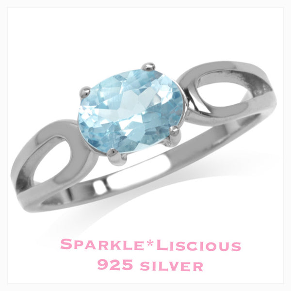 Sparkle*Liscious  Blue Topaz Sterling Silver Swirl Ring