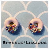 Pink donut stud or dangle earrings