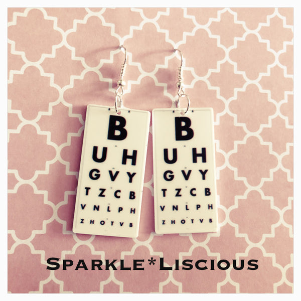Eye chart earrings