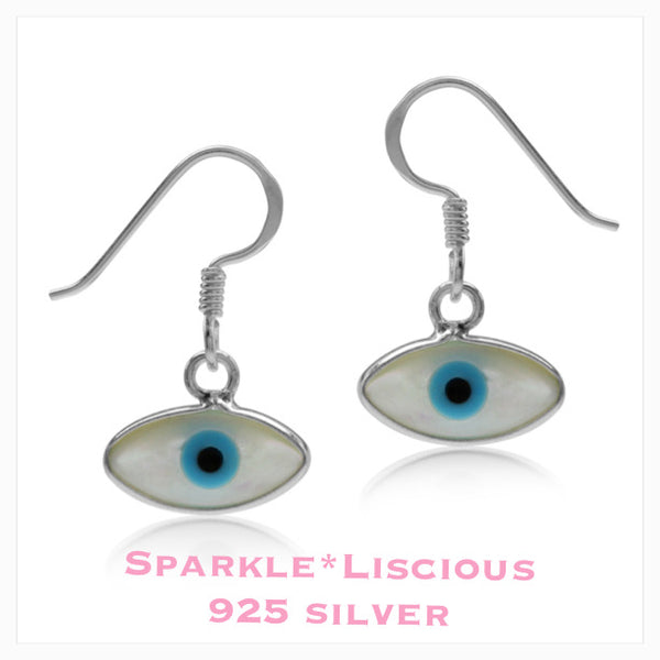 Sparkle*Liscious Mother of Pearl Evil Eye Sterling Silver Earrings