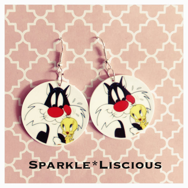 Sylvester and tweety earrings