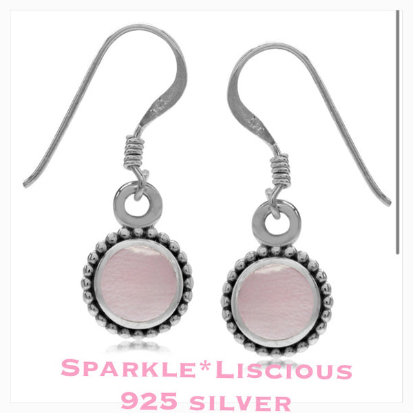 Sparkle*Liscious Pink Mother of Pearl Sterling Silver Earrings