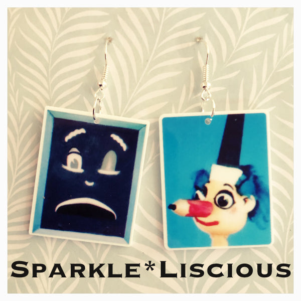Mr squiggle and blackboard earrings