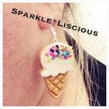 Ice cream with sprinkles drop earrings