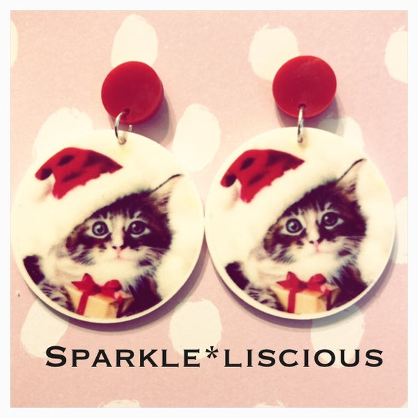 Kitten Christmas earrings