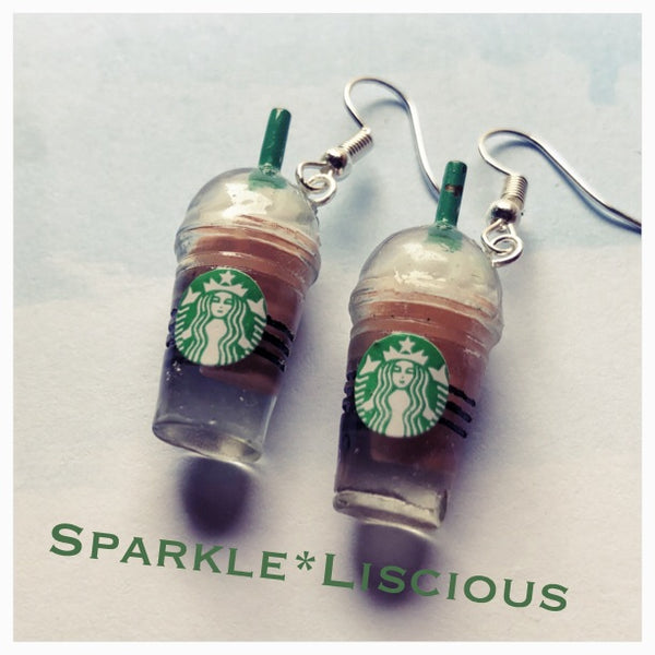 Starbucks double shot extra strong frappe with extra vanilla earrings