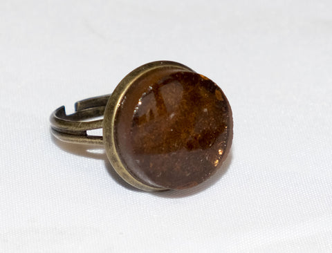 Brown recycled glass ring