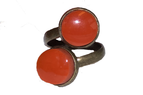 Double orange recycled glass ring
