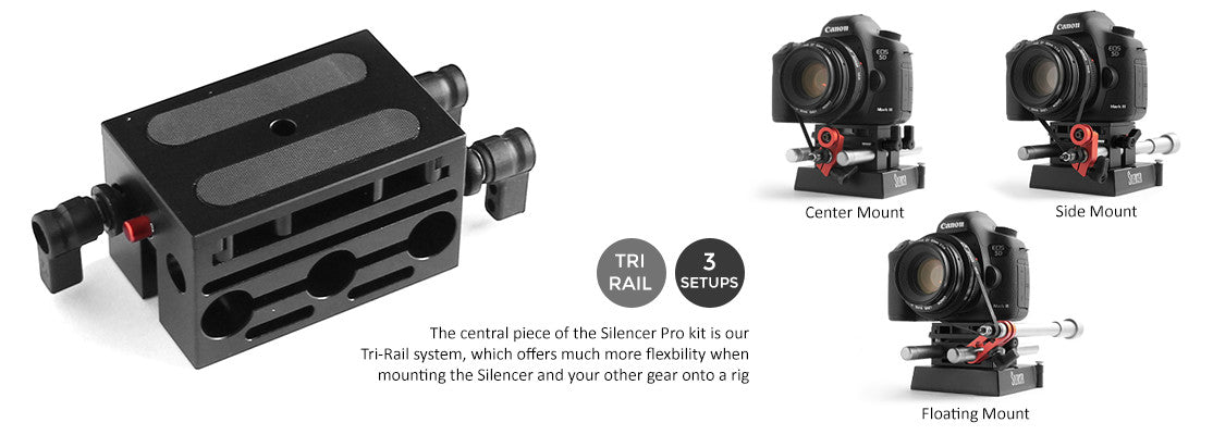 Three Setups: Center Mount, Side Mount, and Floating Mount.  The central piece of the Silencer Pro kit is our Tri-Rail system, which offers much more flexibility when mounting the Silencer and your other gear onto a rig.