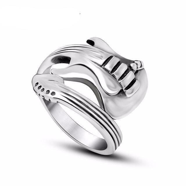 Tredfashions Stainless Steel Guitar Ring - Tred Fashions