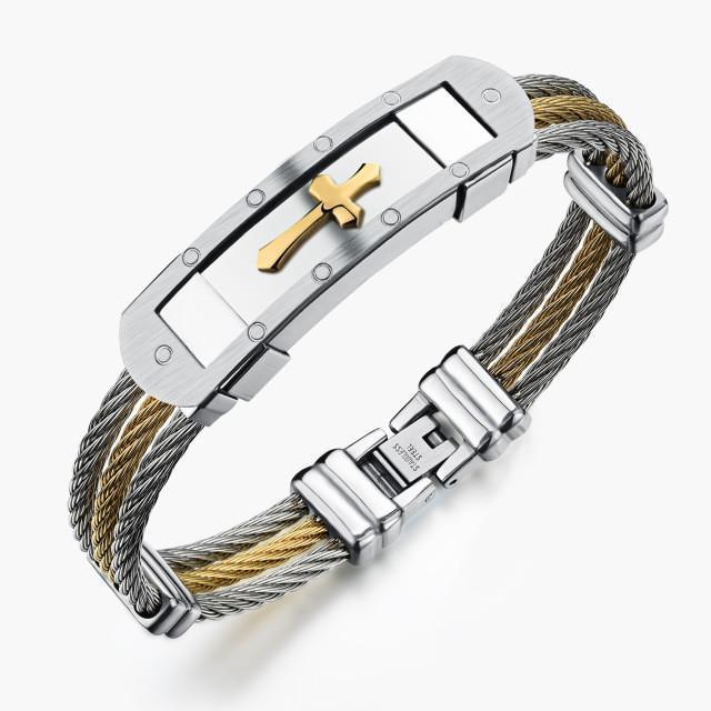 Tred Fashions Bracelet Silver Gold 1 Tredfashions Stainless Steel Cross Premium Bracelet