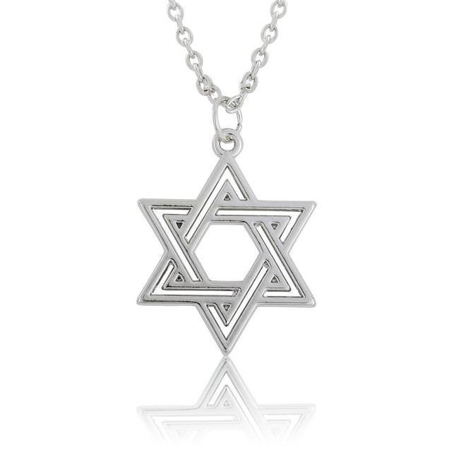 Tred Fashions Necklace Rhodium Plated Tredfashions Gold & Silver Star Of David Necklace