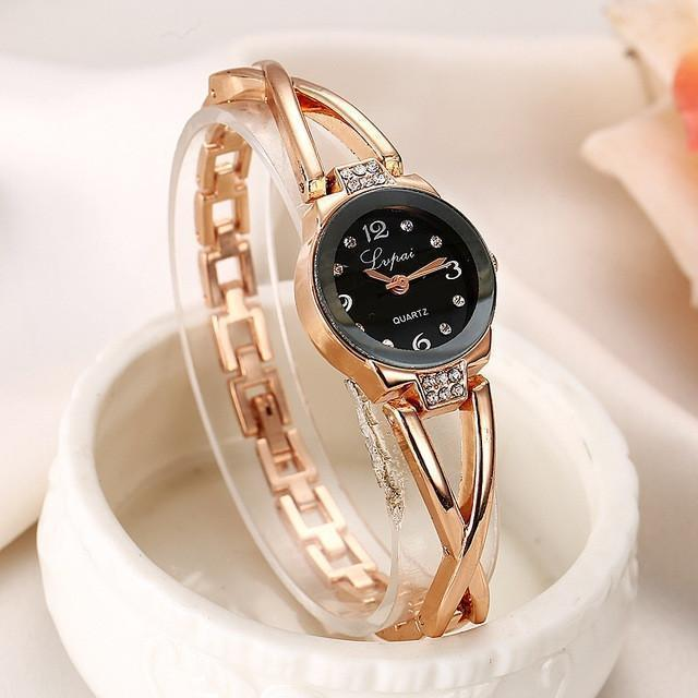 Tred Fashions Watch Rose Gold Black 744 TredFashionsi Summer Style Gold Watch  Women Wristwatch