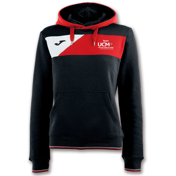 HOODED JACKET CREW II BLACK-RED WOMAN University College Isle Of Man