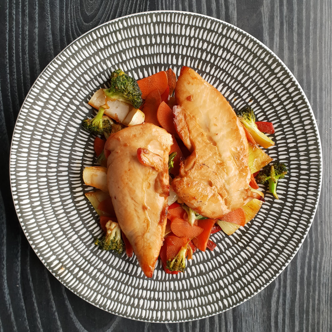 Ginger Soy Chicken w/ Stir-Fried Veggies - Foddies Low FODMAP