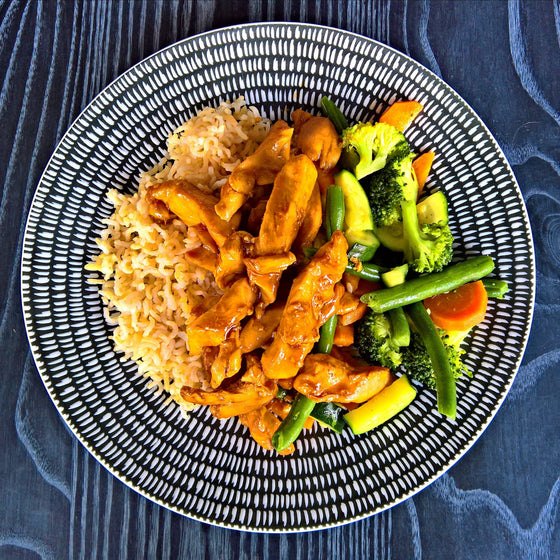 Teriyaki Chicken, Steamed Veggies & Brown Rice - 400g - Foddies Low FODMAP