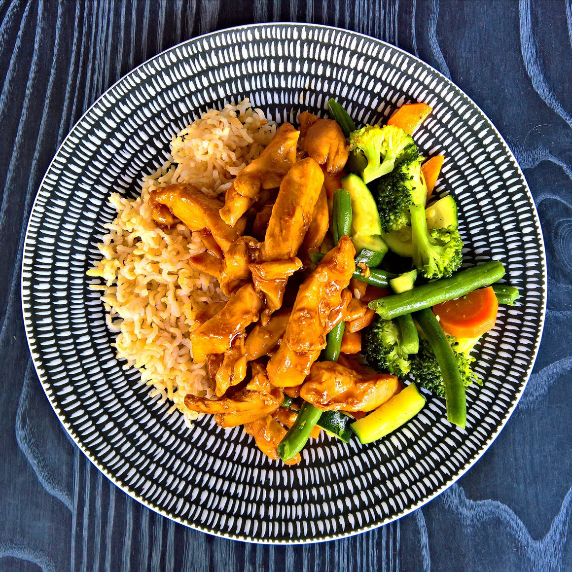 Teriyaki Chicken, Steamed Veggies & Brown Rice - 300g - Foddies Low FODMAP