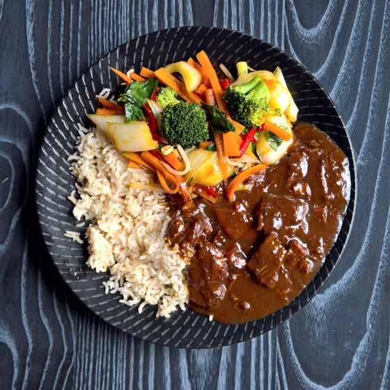 Mongolian Beef, Stir-Fried Veggies & Brown Rice - 400g - Foddies Low FODMAP