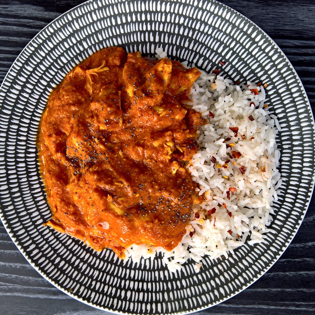 Butter Chicken & Rice - 450g - Foddies Low FODMAP
