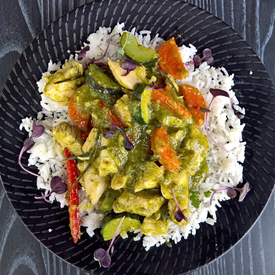 Thai Green Chicken Curry w/ Rice - 350g - Foddies Low FODMAP