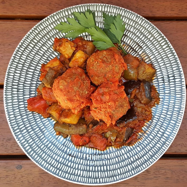 Meatballs w/ Ratatouille - Foddies Low FODMAP