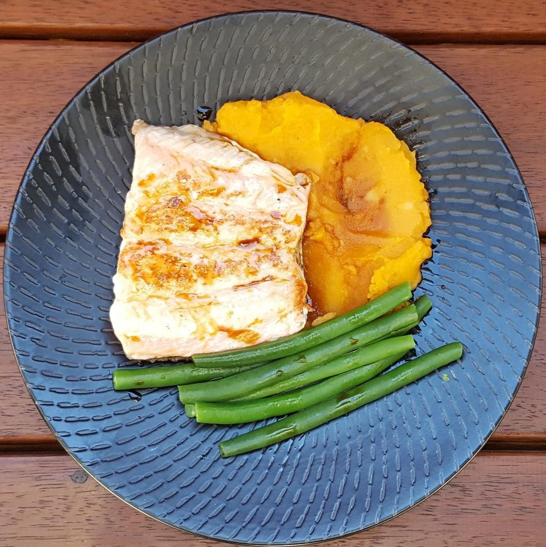 Salmon, Sweet Potato Mash & Green Beans - Foddies Low FODMAP