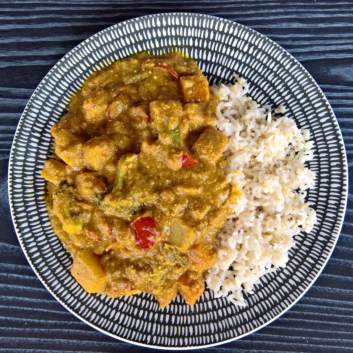 Veggie Korma & Brown Rice - 450g - Foddies Low FODMAP