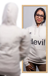 Live-Lived Silver Gray Hooded Sweatshirt - Women (Mirror View - Devil)