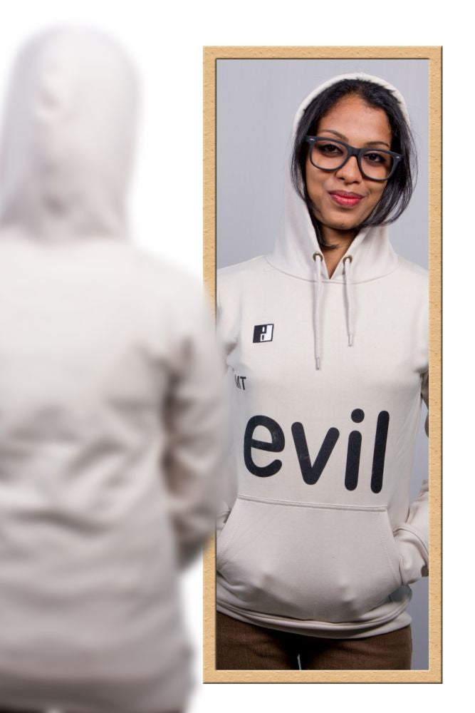 Live-Lived Silver Gray Hooded Sweatshirt - Women (Mirror View - Evil)