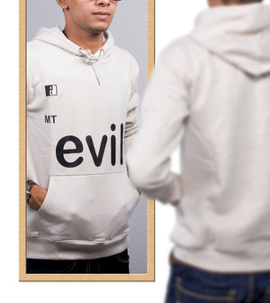 Live-Lived Silver Gray Hooded Sweatshirt - Men (Mirror View - Evil)