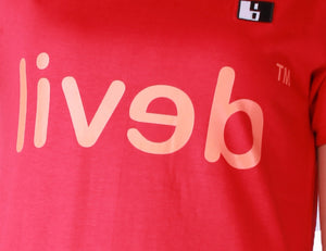 Live-Lived Red Crew Neck T-shirt Men - Devil Mirror