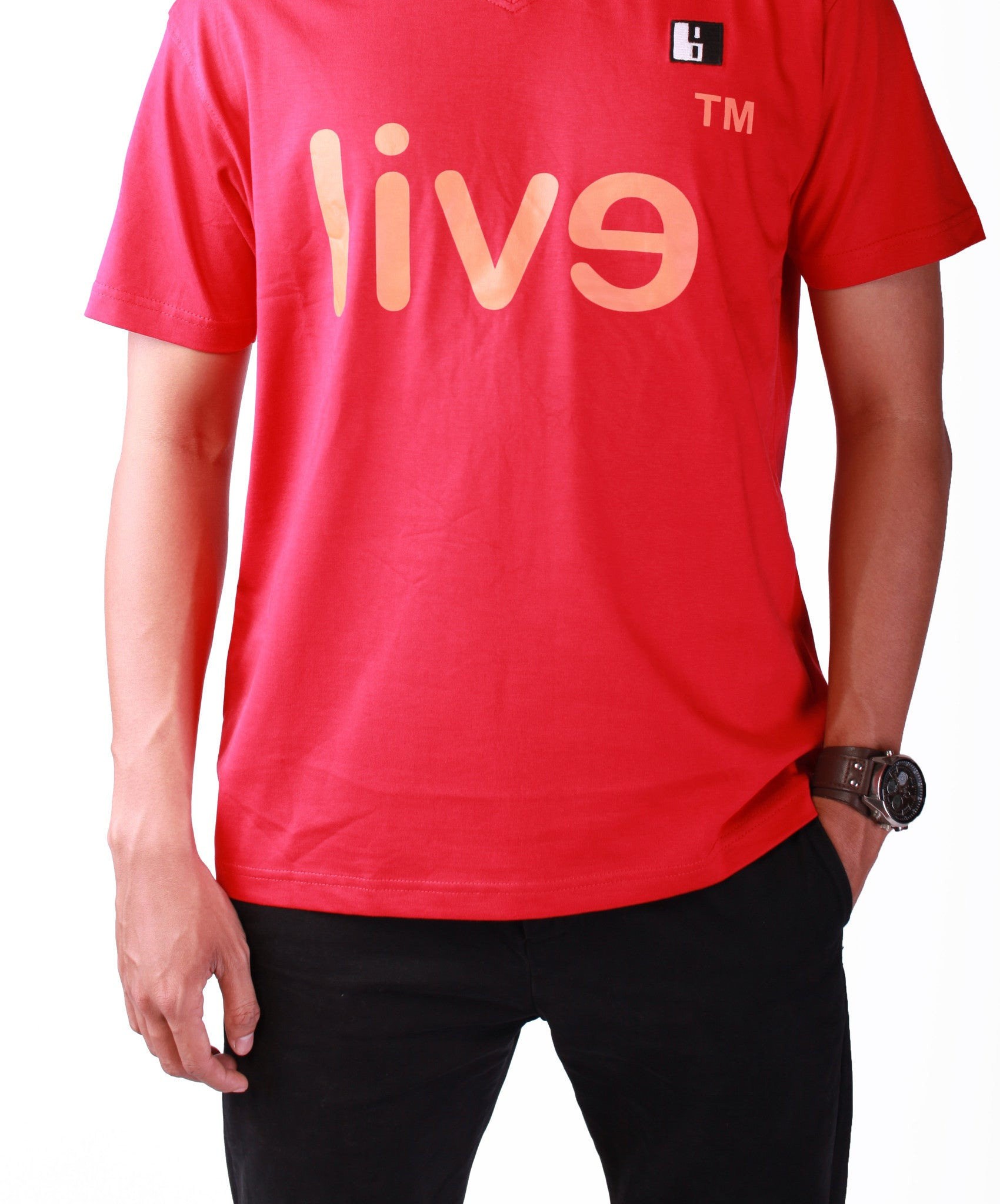 Live-Lived Red Crew Neck T-shirt Men - Evil Mirror