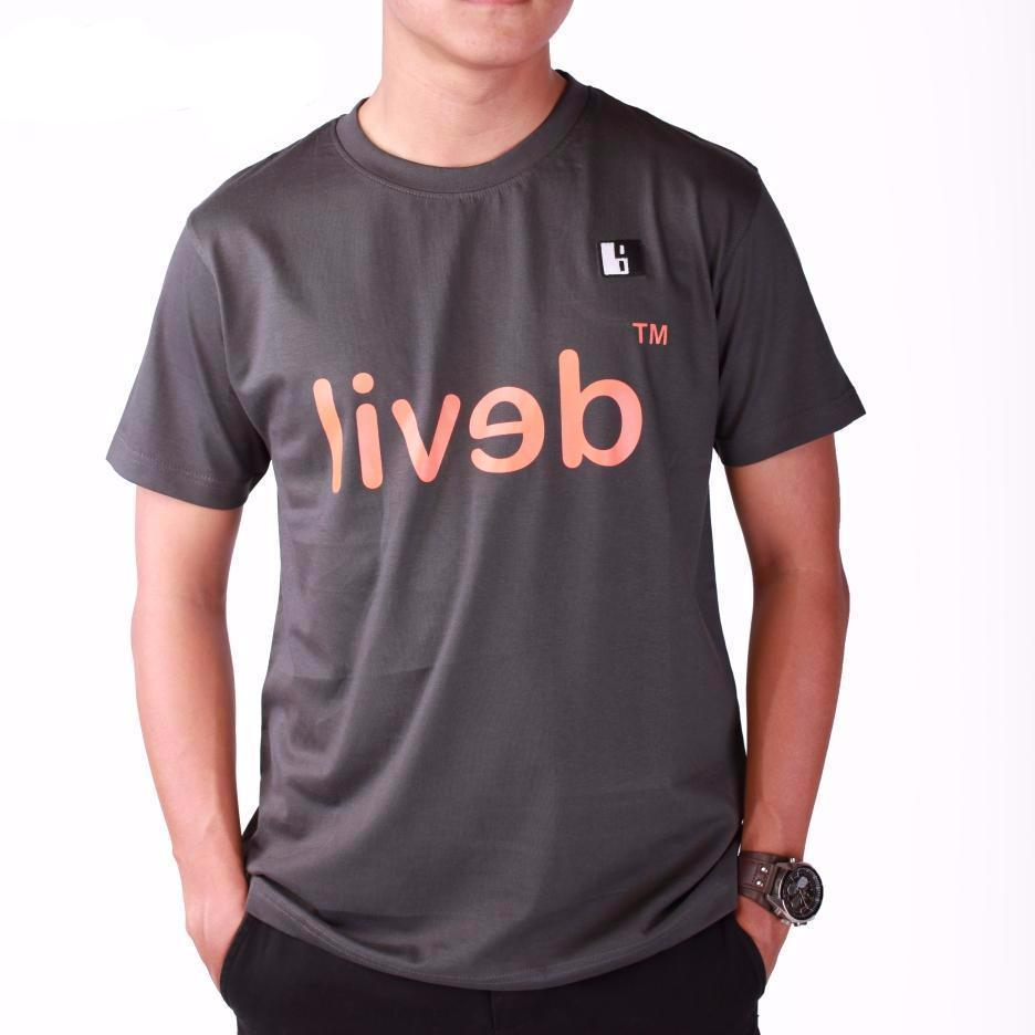 Live-Lived Black Crew Neck T-shirt Men - Devil Mirror