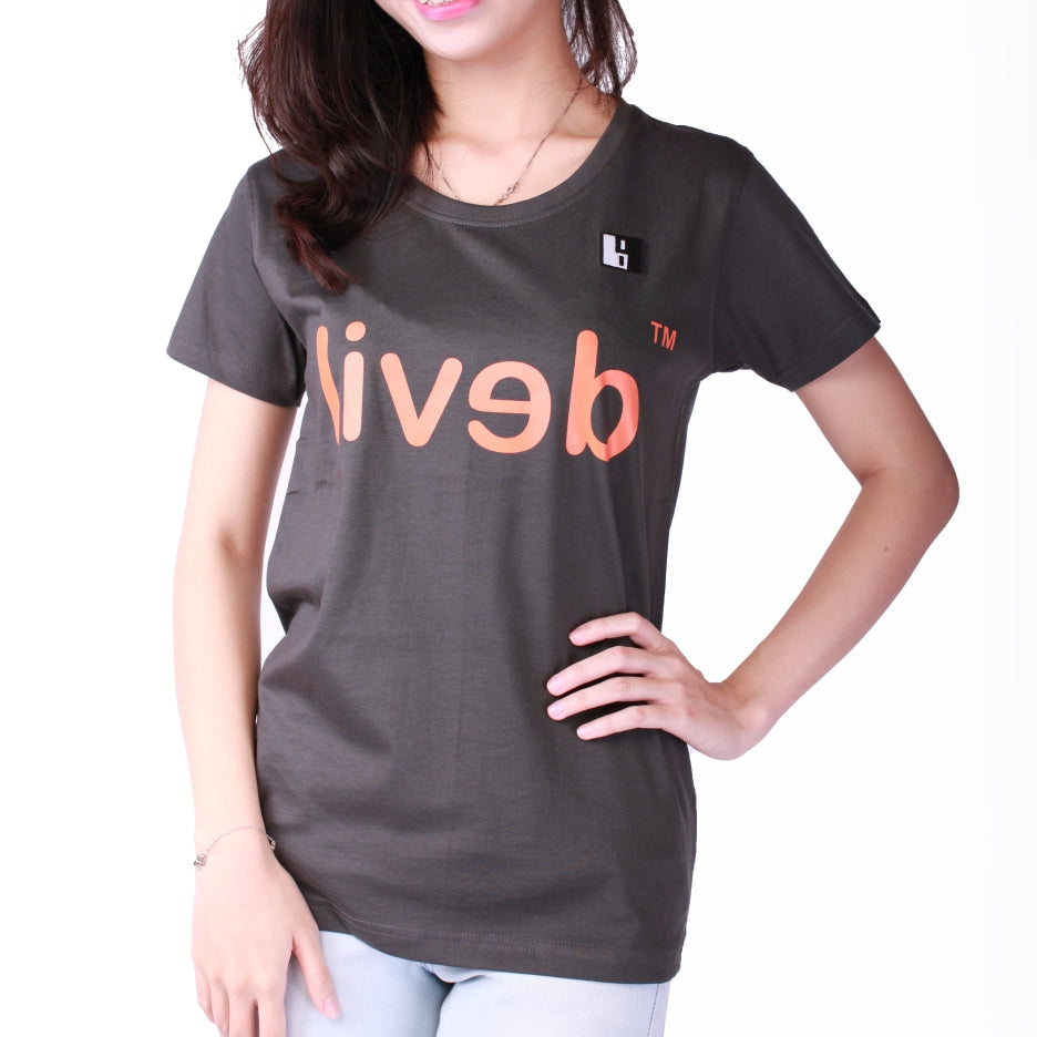 Live-Lived Black Crew Neck T-shirt Women - Devil Mirror