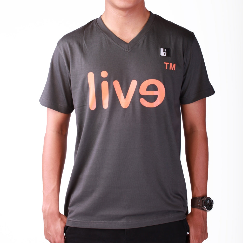 Live-Lived Black V-Neck T-shirt Men - Evil Mirror