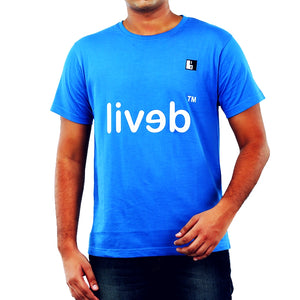Live-Lived Blue Crew Neck T-shirt Men - Devil Mirror
