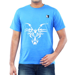 Live-Lived Blue Crew Neck T-shirt Men - Dragon Art