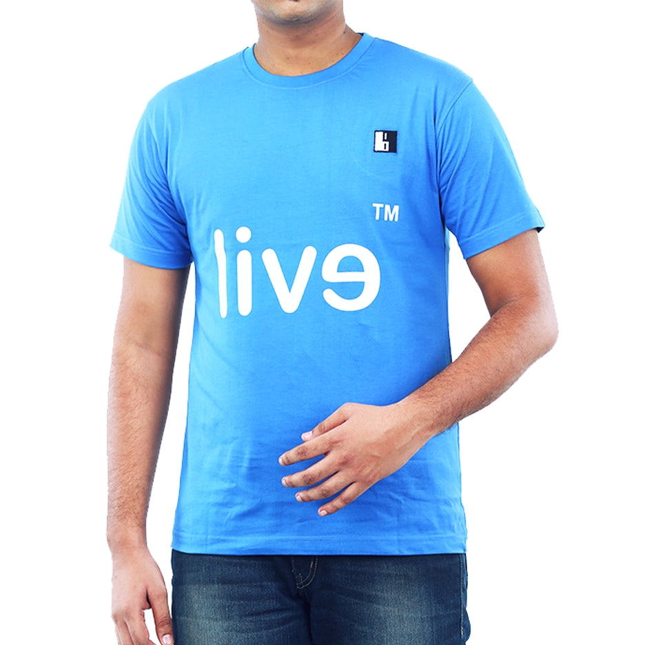 Live-Lived Blue Crew Neck T-shirt Men - Evil Mirror