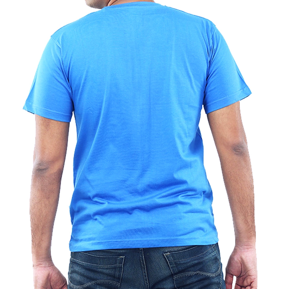 Live-Lived Blue Crew Neck T-shirt Men (rear view)