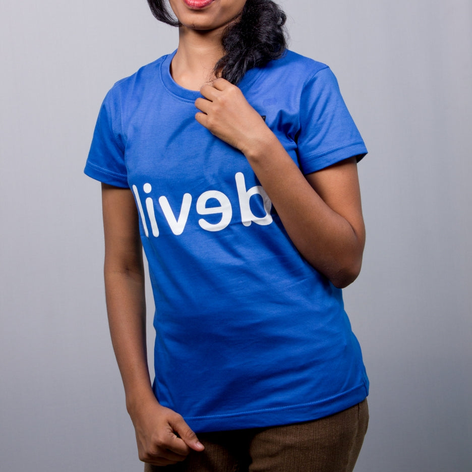 Live-Lived Blue Crew Neck T-shirt Women - Devil Mirror
