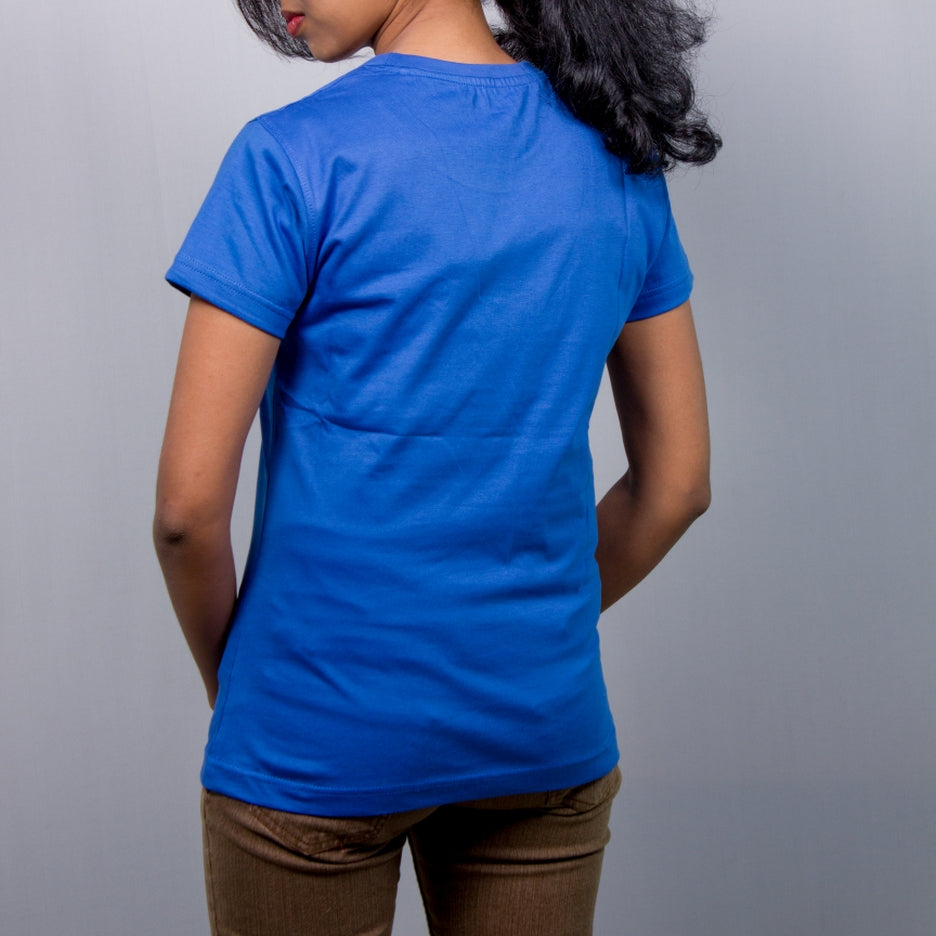 Live-Lived Blue Crew Neck T-shirt Women (rear view)