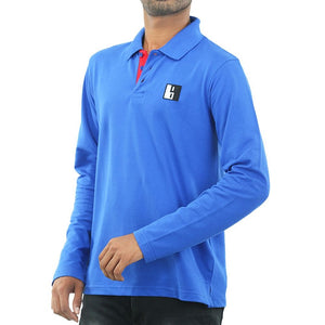 Live-Lived Blue Polo T-shirt, Full Sleeve - Men (Front View)