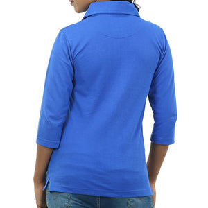 Live-Lived Blue Polo T-shirt long Sleeve 3/4 - Women (rear view)