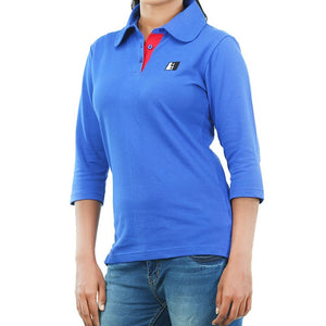 Live-Lived Blue Polo T-shirt long Sleeve 3/4 - Women (side view)