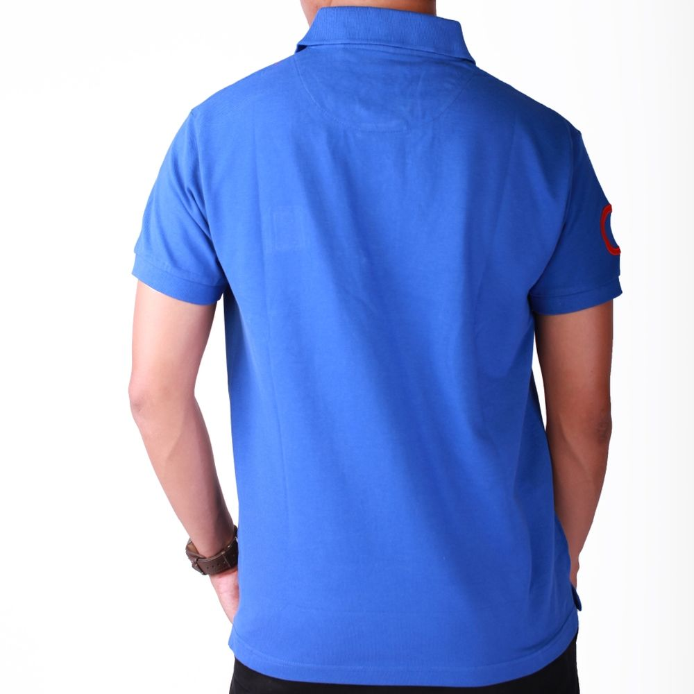 Live-Lived Blue Polo, Short Sleeve - Men (rear view)