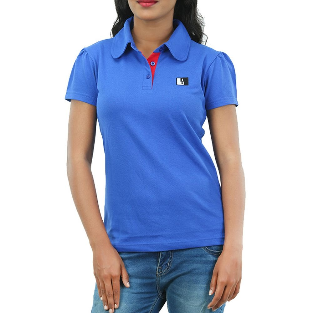 Live-Lived Blue Polo T-shirt Puffed Short Sleeve- Women