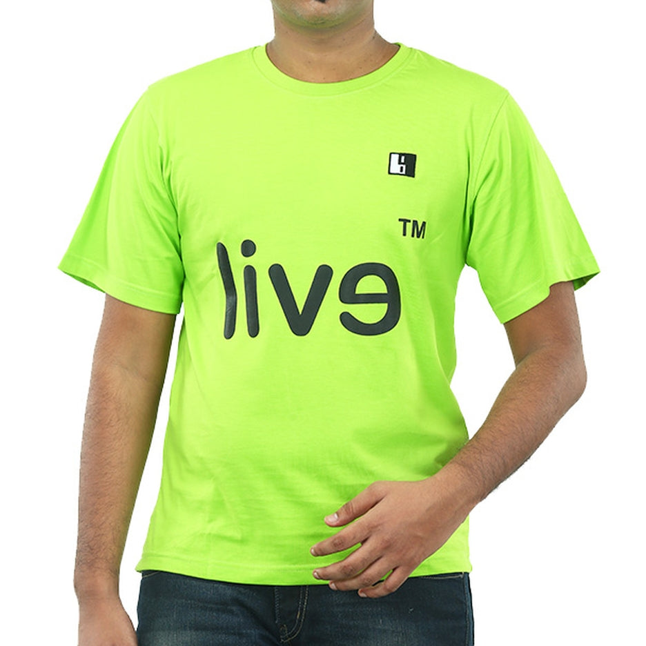Live-Lived Lime (Green) Crew Neck T-shirt Men - Evil Mirror