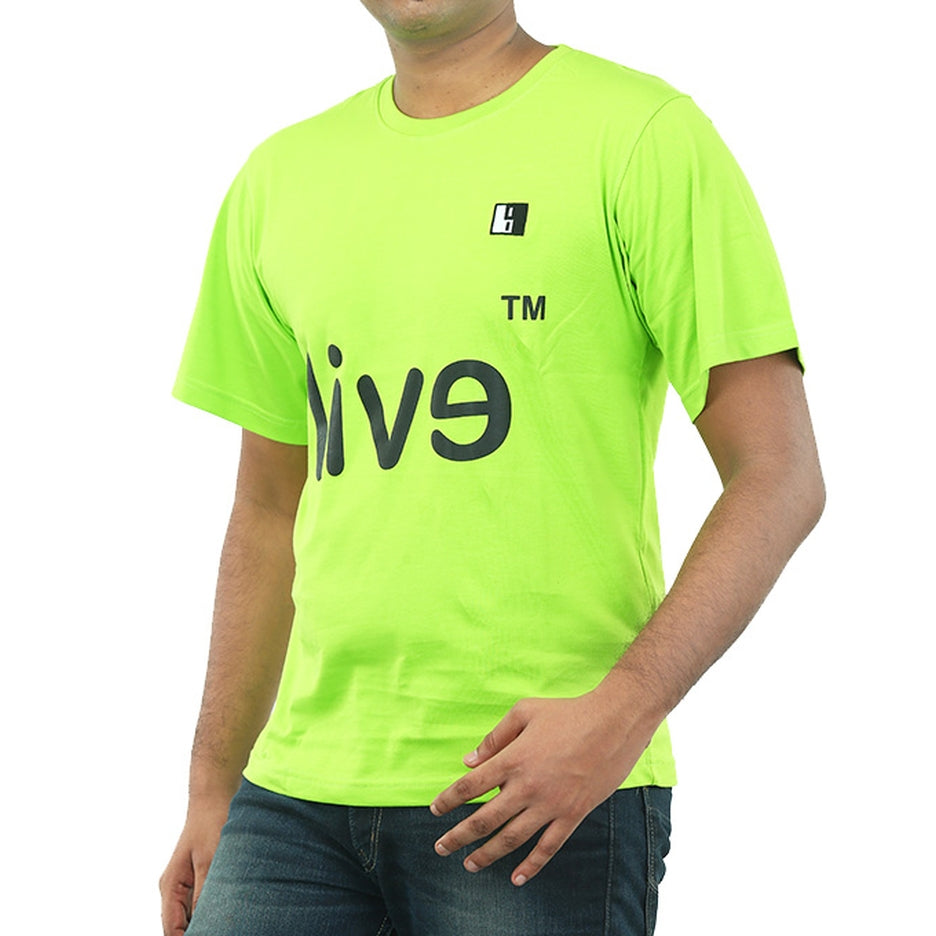 Live-Lived Lime (Green) Crew Neck T-shirt Men - Evil Mirror (side view)