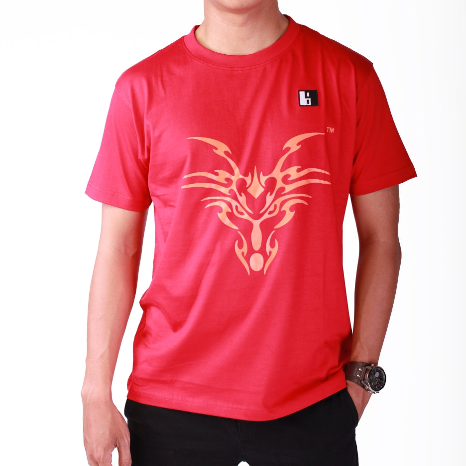 Live-Lived Red Crew Neck T-shirt Men - Dragon Art